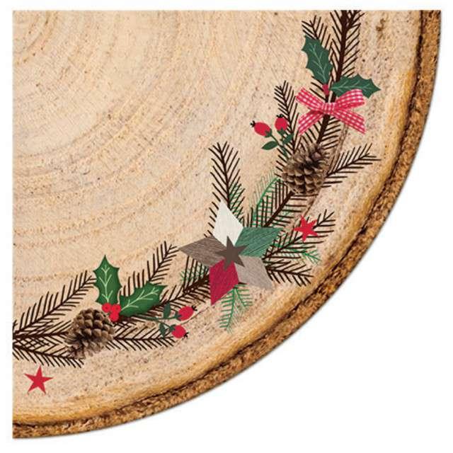 """Serwetki rondo """"Rustykalne - wieniec świąteczny"""", Paw, 32 cm, 12 szt,"""