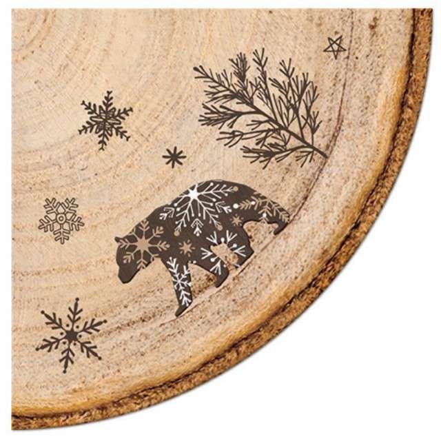 """Serwetki rondo """"Rustykalne - zimowa sceneria"""", Paw, 32 cm, 12 szt,"""