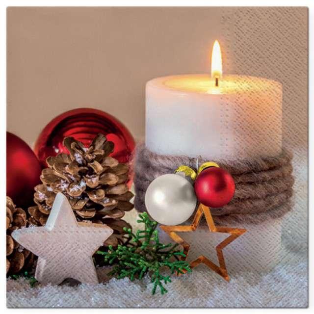 """Serwetki """"Dekoracja świąteczna ze świecą"""", PAW, 33 cm, 20 szt"""