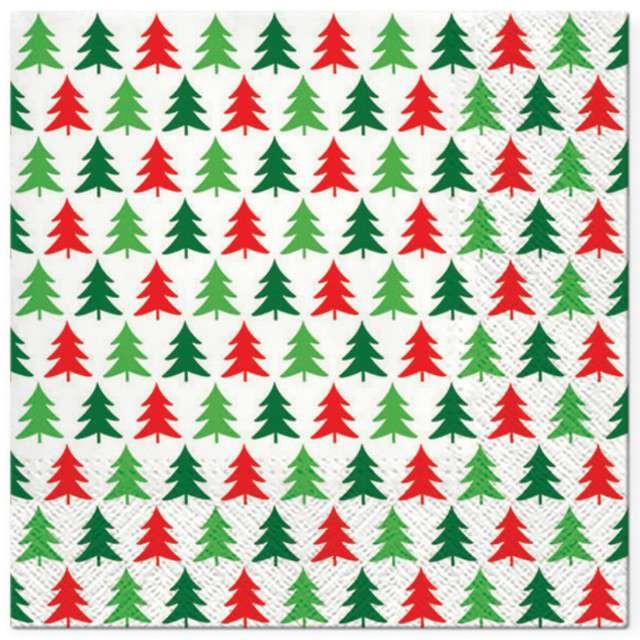"""Serwetki """"Choinkowy deseń"""", czerwono-zielone, PAW, 33 cm, 20 szt"""