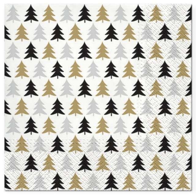 """Serwetki """"Choinkowy deseń"""", czarno-złote, PAW, 33 cm, 20 szt"""