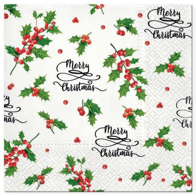 """Serwetki """"Merry Christmas, gałązki ostrokrzewu"""", PAW, 33 cm, 20 szt"""
