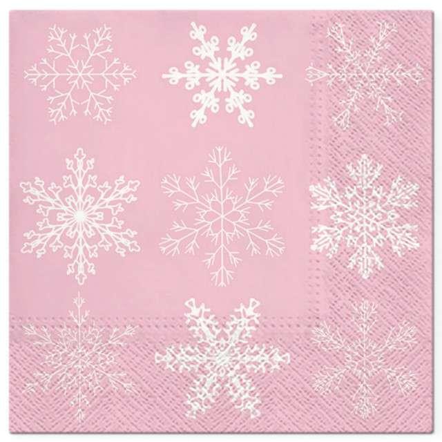"""Serwetki """"Klasyczne płatki śniegu"""", różowe, PAW, 33 cm, 20 szt"""