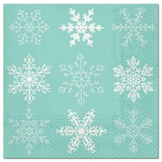 """Serwetki """"Klasyczne płatki śniegu"""", miętowe, PAW, 33 cm, 20 szt"""