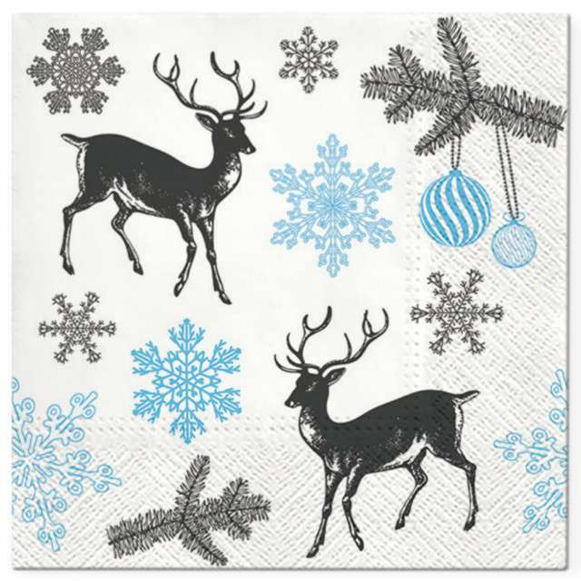 """Serwetki """"Zimowe Renifery"""", biało-niebieskie, PAW, 33 cm, 20 szt"""