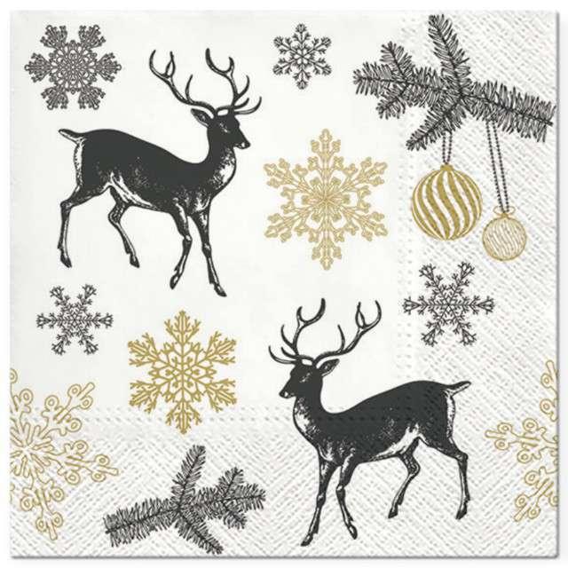 """Serwetki """"Zimowe Renifery"""", biało-złote, PAW, 33 cm, 20 szt"""