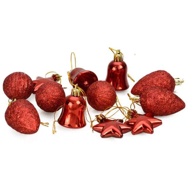 """Zestaw bombek """"Świąteczny Mix 12"""", czerwony, Arpex"""