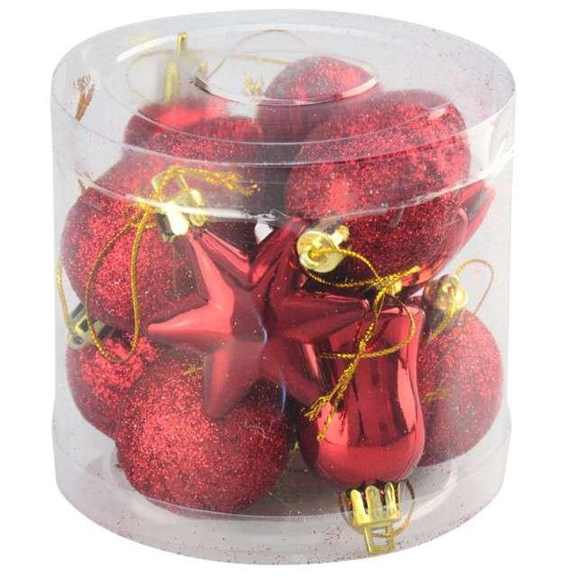 Zestaw bombek Świąteczny Mix 12 czerwony Arpex