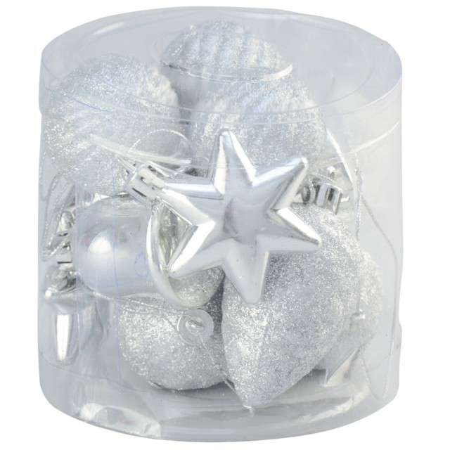 Zestaw bombek Świąteczny Mix 12 srebrny Arpex