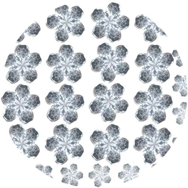 """Dżety samoprzylepne """"Kwiatki Kryształki"""", srebrne, 6-11 mm, 52 szt, Titanum"""