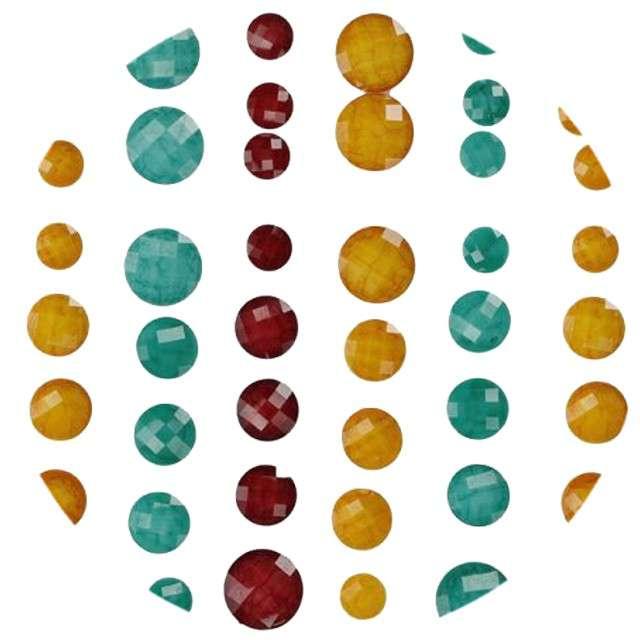 """Dżety samoprzylepne """"Kryształki"""", żółto-seledynowo-bordowe, 50 szt, Titanum"""