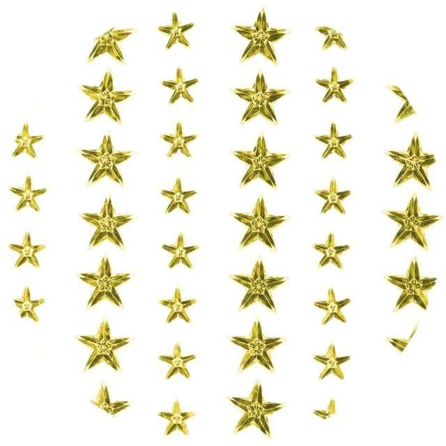 """Dżety samoprzylepne """"Kryształki gwiazdki"""", złote, 57 szt, Titanum"""