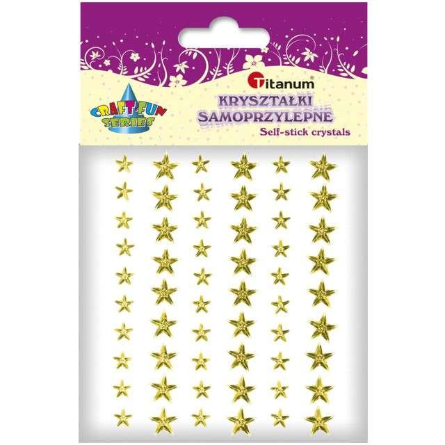 Dżety samoprzylepne Kryształki gwiazdki złote 57 szt Titanum