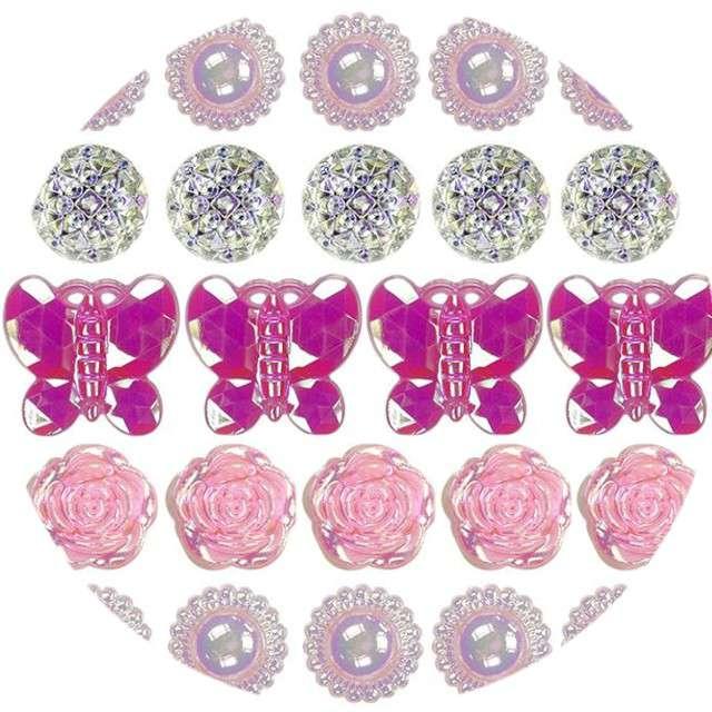 """Dżety samoprzylepne """"Kryształki motylki i kwiatki"""", różowo-srebrne, Titanum"""