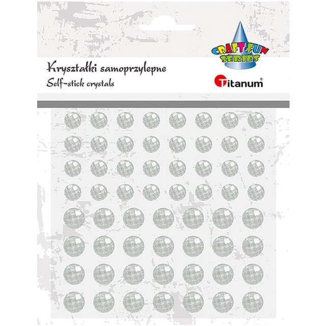 Dżety samoprzylepne Kryształki białe 60 szt Titanum