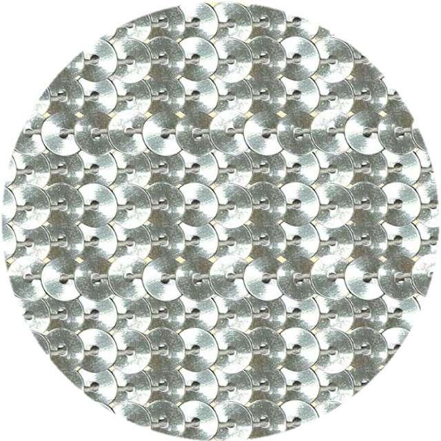 """Cekiny """"Na sznurku"""", srebrne, 6 mm, Titanum, 2 m"""