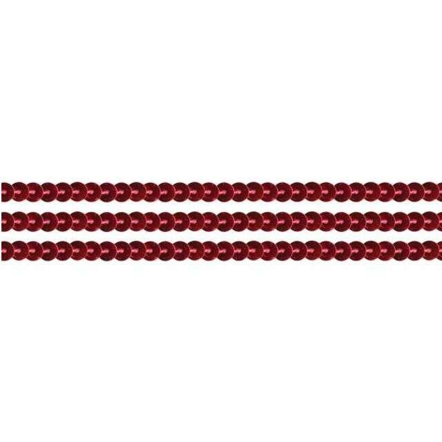 Cekiny Na sznurku czerwone 6 mm Titanum 2 m