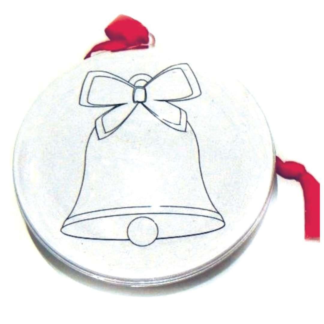Bombka Własne Zdjęcie + kolorowanka mikołaj i dzwonek Arpex 7 cm