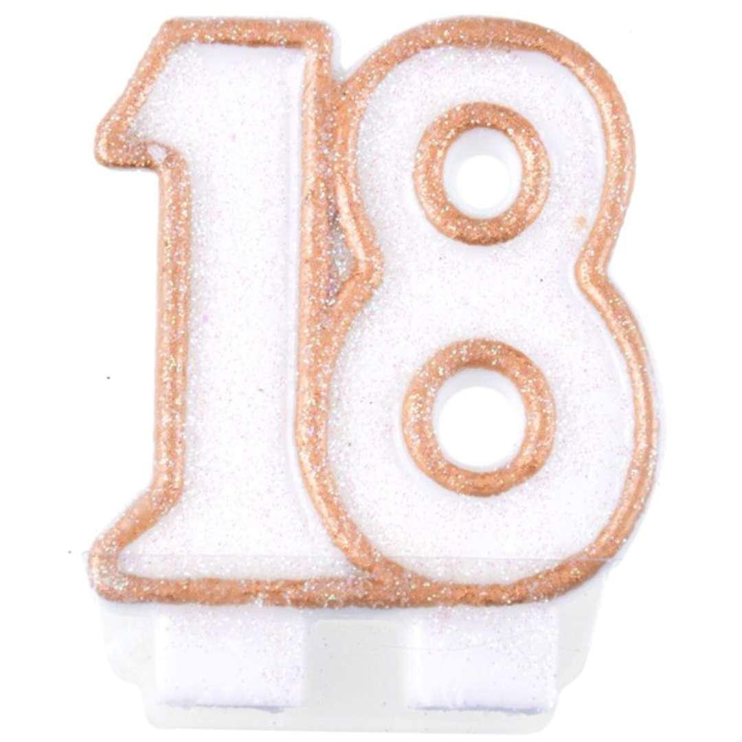 """Świeczka na tort """"18"""", ARPEX, biało-złota, 6 cm"""