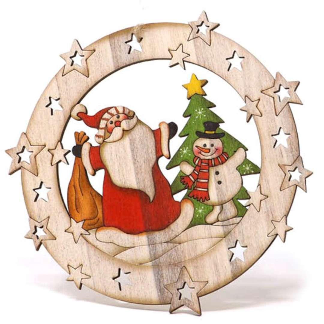 Zawieszka drewniana Mikołaj z bałwankiem Guirca 15 cm