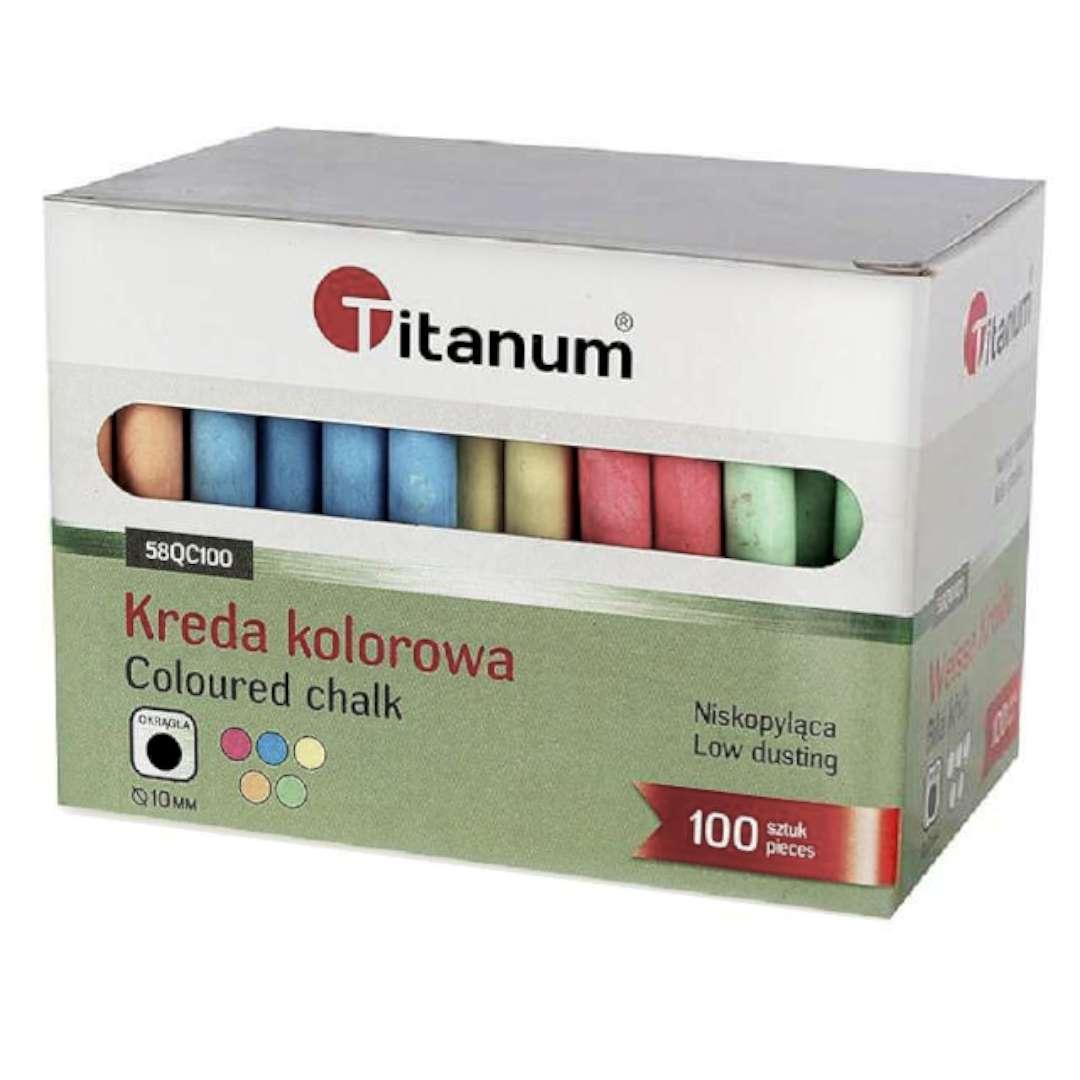 """Kreda """"Classic Color"""", Titanum, 10 mm / 100 szt"""