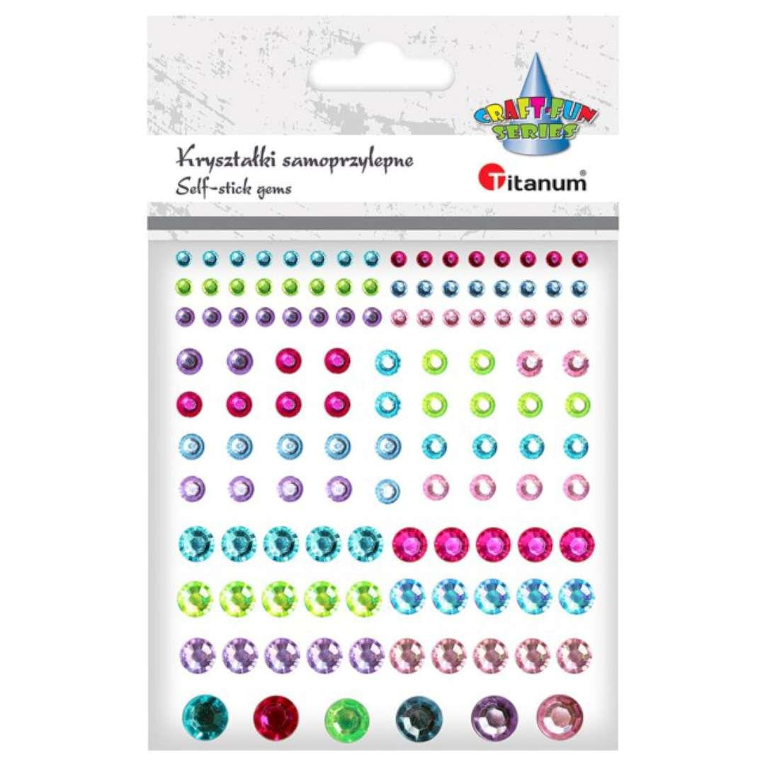 Dżety samoprzylepne Kryształki kolory mix 120 szt Titanum