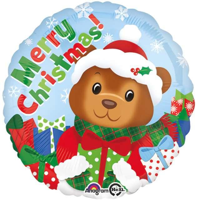 """Balon foliowy """"Świąteczny Miś"""", Amscan, 17"""" RND"""