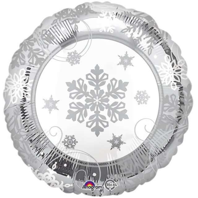 Balon foliowy Płatki śniegu srebrno-biały Amscan 17 RND