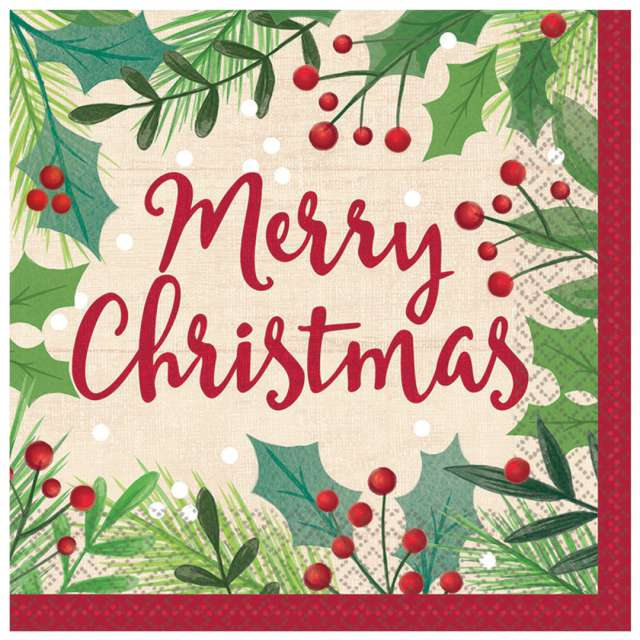 "Serwetki ""Merry Christmas"", Amscan, 33 cm, 16 szt"