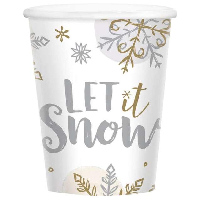 """Kubeczki papierowe """"Let it Snow"""", Amscan, 266 ml, 8 szt"""