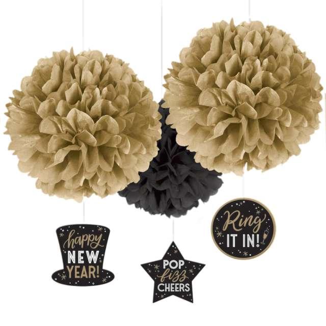 """Pompon bibułowy """"Happy New Year"""", złoto-czarny, Amscan, kompl."""
