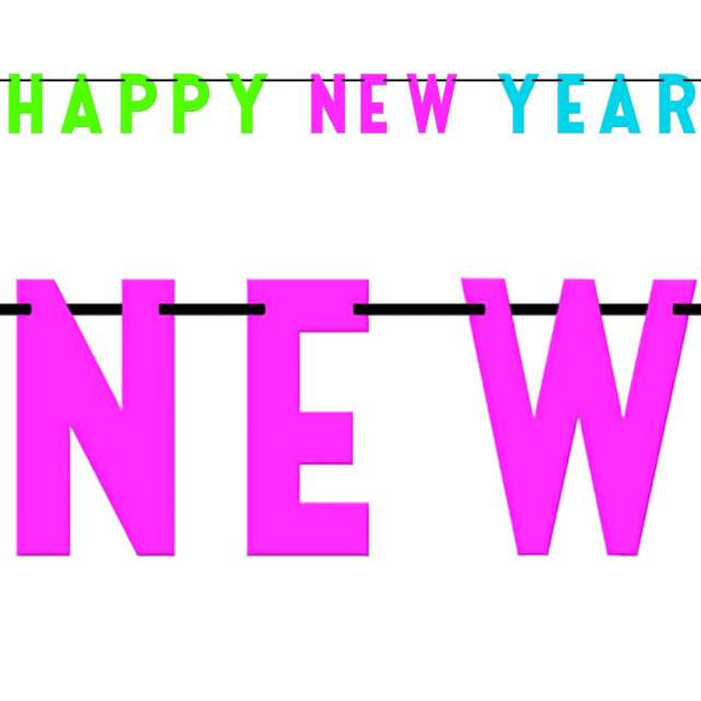 Baner Happy New Year - neonowy Amscan 274 cm