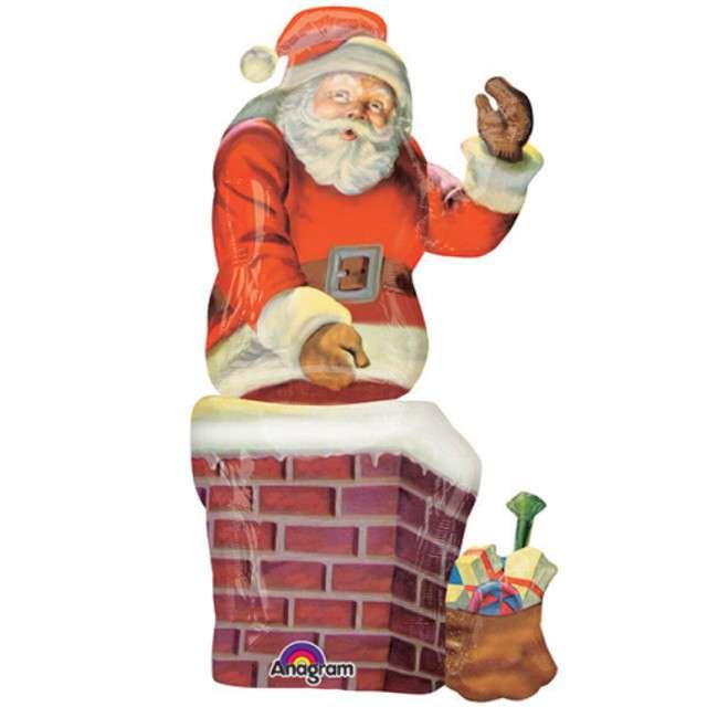 """Balon foliowy """"Święty Mikołaj w kominie"""", Amscan, 52"""" SHP"""