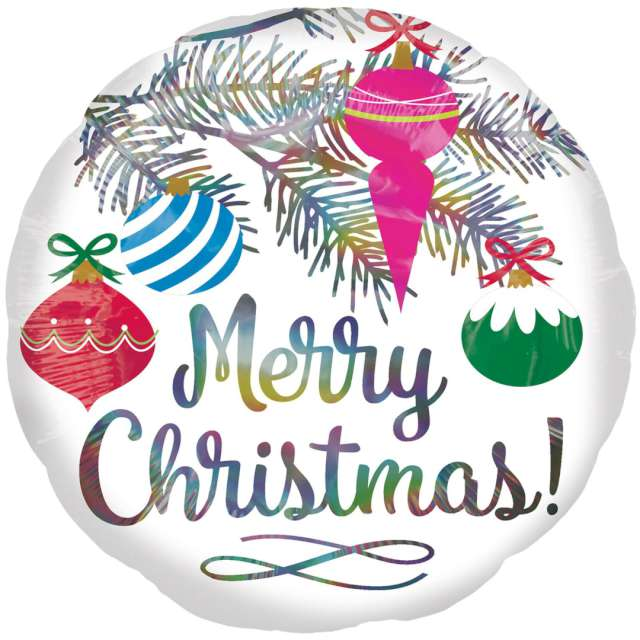 "Balon foliowy ""Merry Christmas - ozdoby choinkowe"", Amscan, 17"" RND"