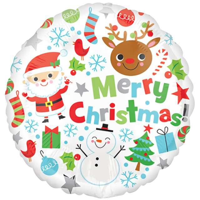 "Balon foliowy ""Merry Christmas - symbole świąt"", Amscan, 17"" RND"