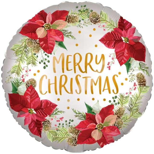 """Balon foliowy """"Merry Christmas - wieniec z poinsecji"""", satynowy, Amscan, 17"""" RND"""