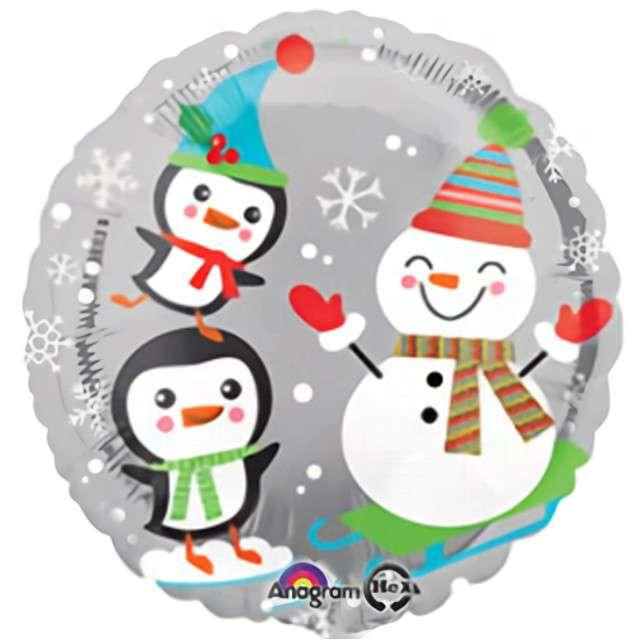 Balon foliowy Święty Mikołaj pingwiny i bałwanki Amscan 17 RND