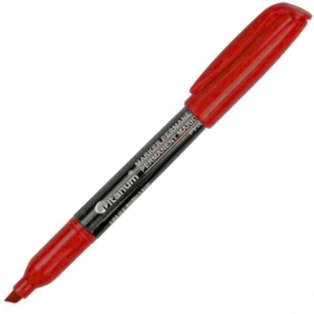 """Marker permanentny """"Ścięty cienki"""", czerwony, Titanum, 1 - 4,2 mm"""