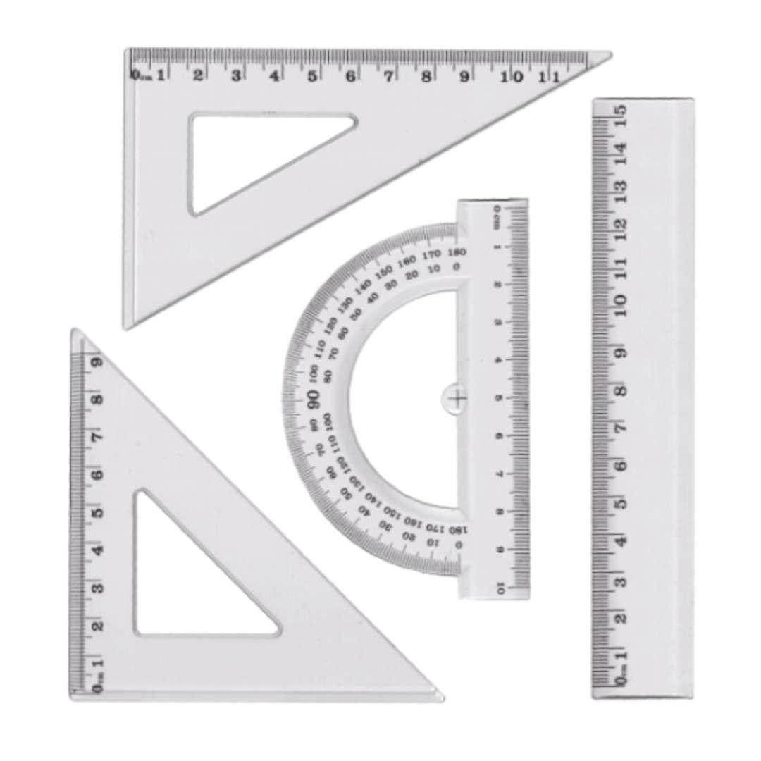 """Przybory geometryczne """"Classic 4 elementy z linijką 15 cm"""", transparent z czarnym, Titanum"""