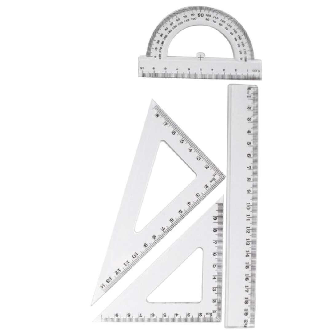 """Przybory geometryczne """"Classic 4 elementy z linijką 20 cm"""", transparent z czarnym, Titanum"""