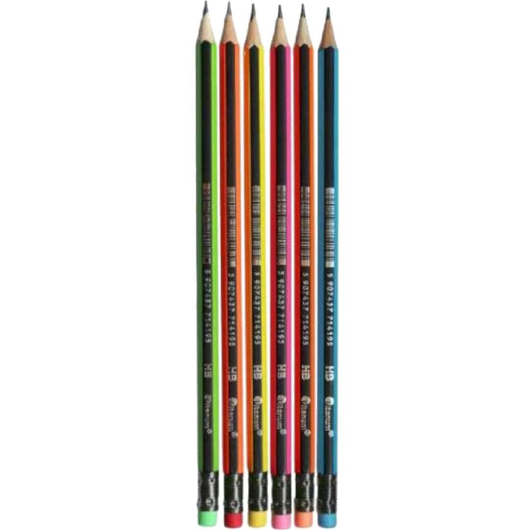 Ołówki Sześciokątne z gumką mix neonowy Titanum HB 46szt