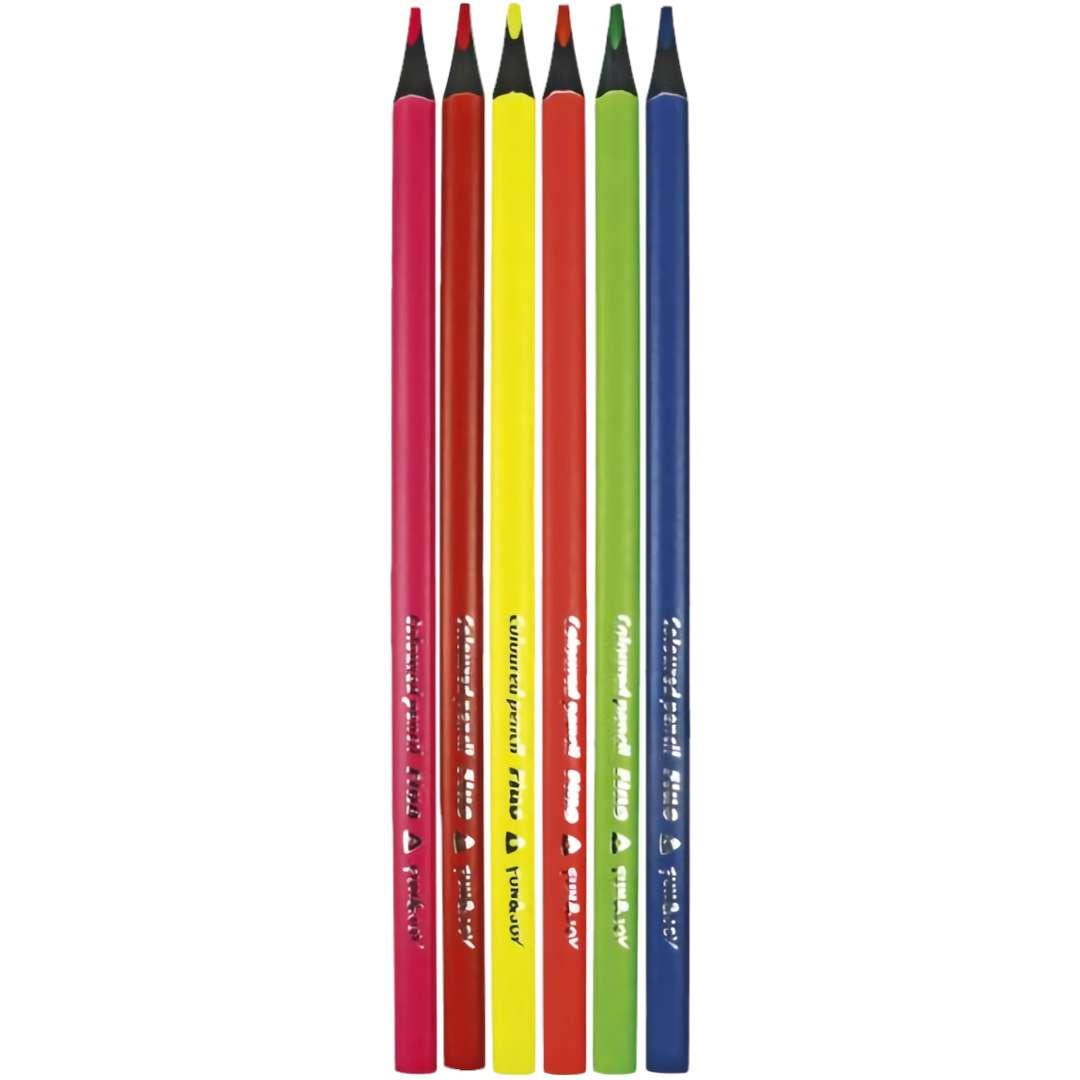 """Kredki ołówkowe """"Trójkątne- Czarne drewno"""", mix, Fun&Joy, 6 szt"""