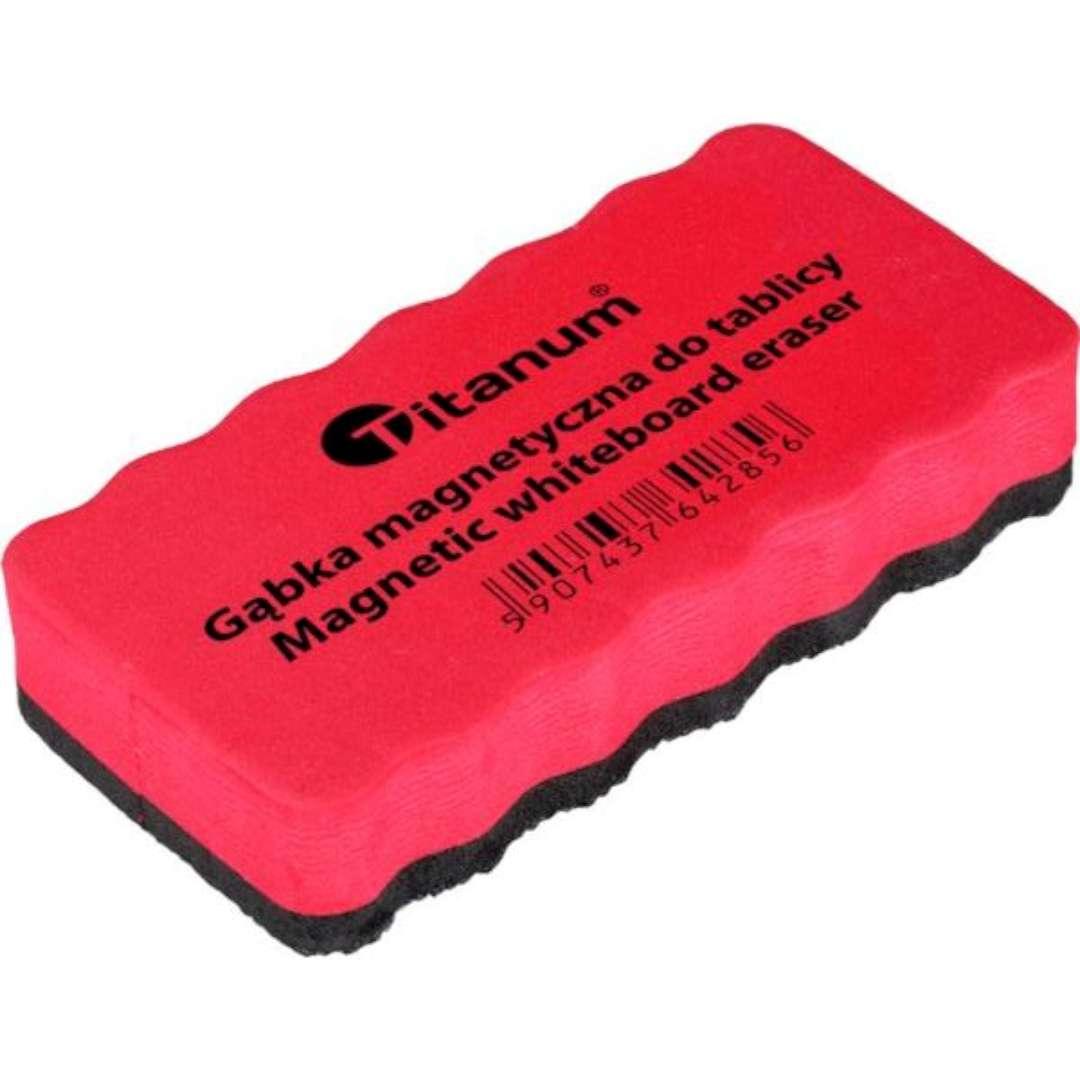 """Gąbka magnetyczna """"Do tablic suchościeralnych"""", czerwona, 11,5 x 5,8 cm"""
