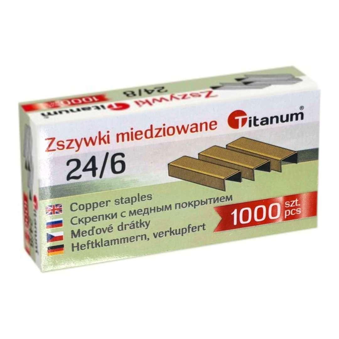 """Zszywki biurowe """"classic 24/6"""", miedziane, Titanum, 1000 szt"""