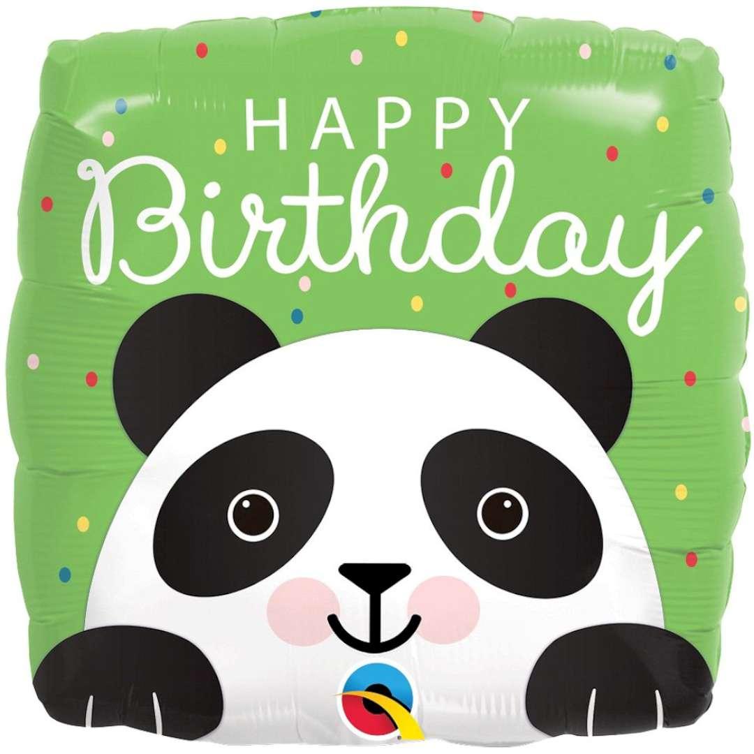 Balon foliowy Panda Happy Birthday QUALATEX 18 SQR