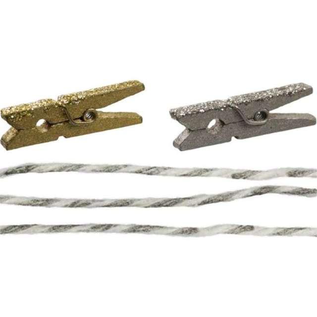 Klamerki ozdobne Drewniane 3 cm złoto-srebrne+sznurek Titanum 24 szt