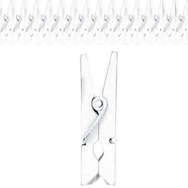 """Klamerki ozdobne """"Drewniane 3,6 cm"""", białe, Titanum, 15 szt"""