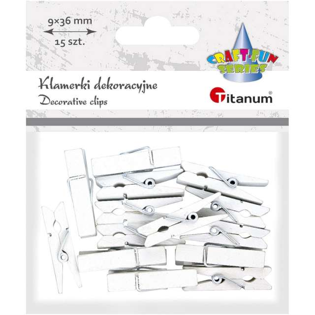 Klamerki ozdobne Drewniane 36 cm białe Titanum 15 szt
