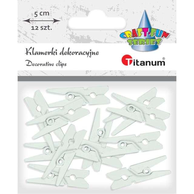 Klamerki ozdobne Drewniane 5 cm szare jasne Titanum 12 szt