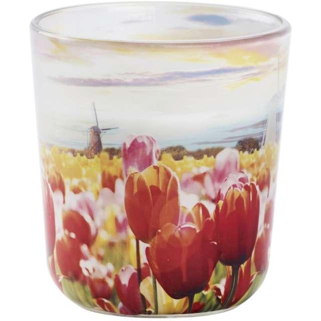 """Świeca w szkle """"Letnie kwiaty"""", czerwono-żółta, Bolsius, 80 mm"""